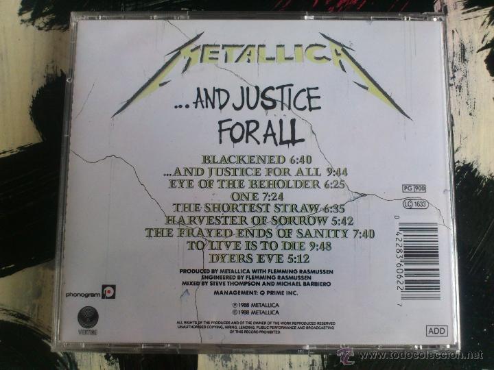 CDs de Música: METALLICA - ...AND JUSTICE FOR ALL - CD ALBUM - VERTIGO - 1988 - Foto 2 - 51697231