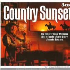 CDs de Música: TRIPLE CD COUNTRY SUNSET ( TEX RITTER, HANK WILLIAMS, MERLE TRAVIS, CARTER FAMILY, PATSY MONTANA,ETC. Lote 51963196