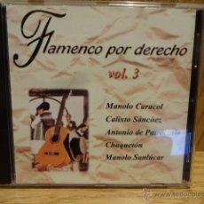 CDs de Música: FLAMENCO POR DERECHO. VOL. 3. CD / DIAL DISCOS - 2002. 10 TEMAS / CALIDAD LUJO.. Lote 52318072
