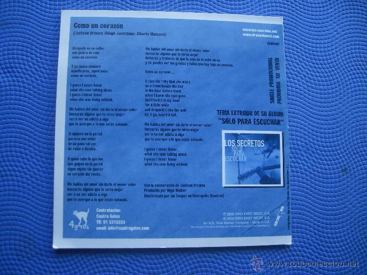 CDs de Música: LOS SECRETOS COMO UN CORAZON CD SINGLE CARTON SPAIN 2003 PDELUXE - Foto 2 - 52381032