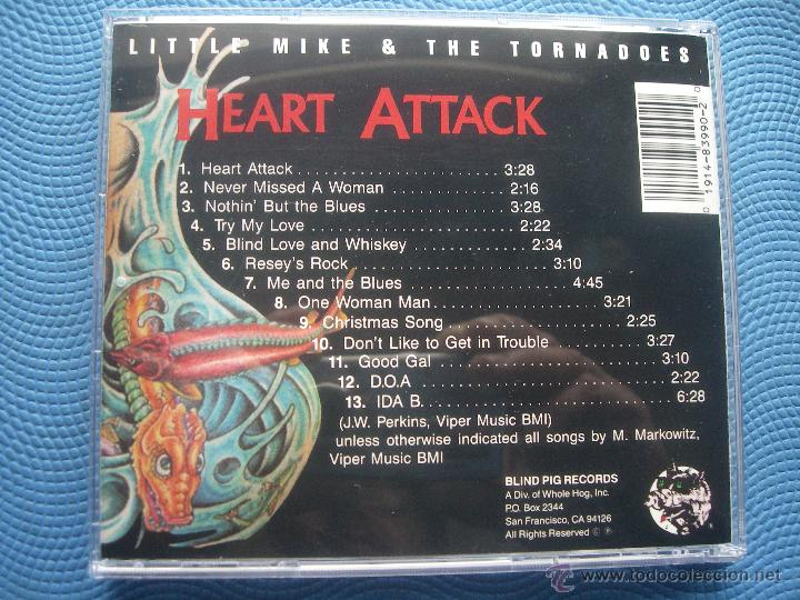 CDs de Música: LITTLE MIKE & THE TORNADOES HEART ATTACK CD ALBUM USA 1990 PDELUXE - Foto 2 - 52452612