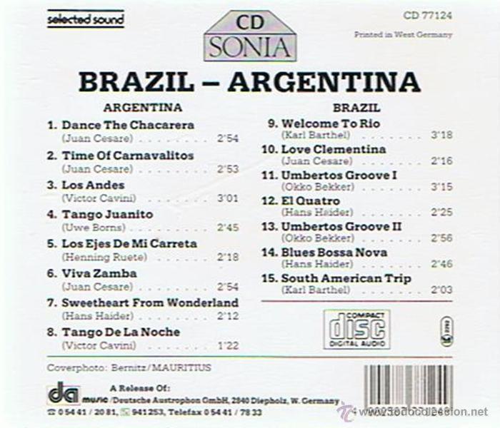 CDs de Música: CD BRAZIL - ARGENTINA - Foto 2 - 52478477