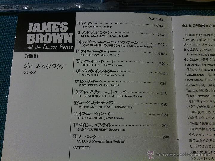 CDs de Música: CD JAMES BROWN AND THE FAMOUS FLAMES - THINK! / Orig. Japan edition POCP-1848 / FUNK SOUL RARÍSIMO!! - Foto 4 - 52480973