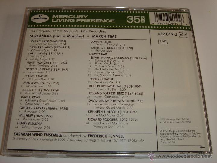 CDs de Música: SCREAMERS / CIRCUS MARCHES / MÚSICA DE CIRCO / FREDERICK FENNELL / MERCURY LIVING PRESENCE / CD - Foto 2 - 52632867