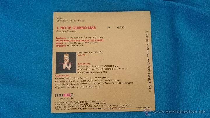 CDs de Música: CD PROMO RARO MARTA SANCHEZ NO TE QUIERO MAS - Foto 2 - 52761525