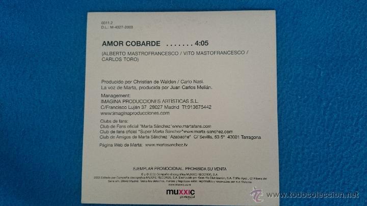 CDs de Música: CD PROMO RARO MARTA SANCHEZ AMOR COBARDE - Foto 2 - 52761820