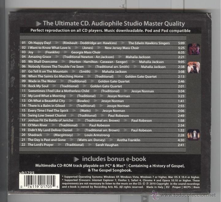 CDs de Música: oh. Happy day. gospels & Spirituals. 22 temas. nuevo - Foto 2 - 52930676