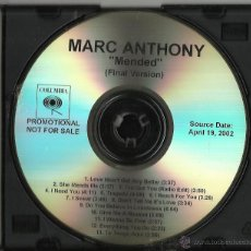 CDs de Música: MARC ANTHONY CD ALBUM PROMOCIONAL MENDED FINAL VERSION.2002.RAREZA.13 TEMAS. Lote 53023630