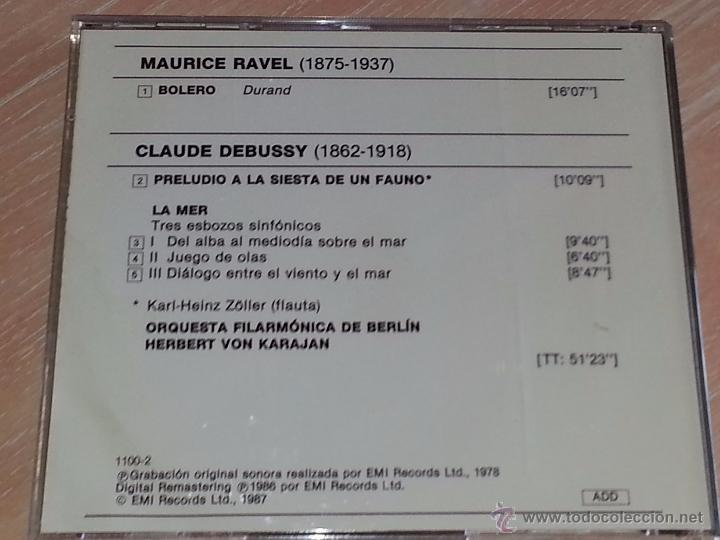 CDs de Música: RAVEL (BOLERO) - DEBUSSY (LA MER) - KARAJAN - FILARMONICA DE BERLIN - CLASSICA ORBIS-FABBRI - CD - Foto 3 - 53044741