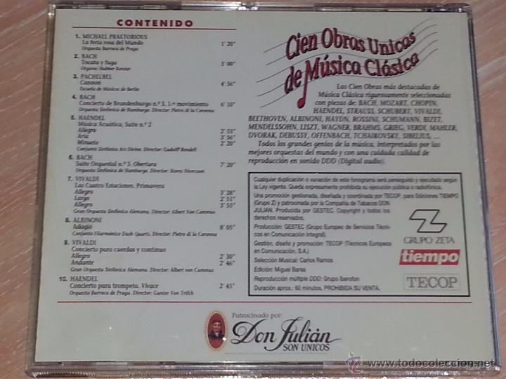 CDs de Música: CIEN OBRAS ÚNICAS DE MÚSICA CLÁSICA - VOLUMEN 1 - REVISTA TIEMPO / IBERMEMORY - 1992 - CD ALBUM - Foto 3 - 53045915
