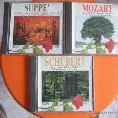 CDs de Música: LOTE 3 CD DE MÚSICA CLÁSICA : MOZART - SCHUBERT - SUPPE - ROSSINNI - STRAUSS, ETC.. Lote 53079200