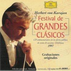 CDs de Música: HERBERT VON KARAJAN: FESTIVAL DE GRANDES CLASICOS - CD. Lote 53966417