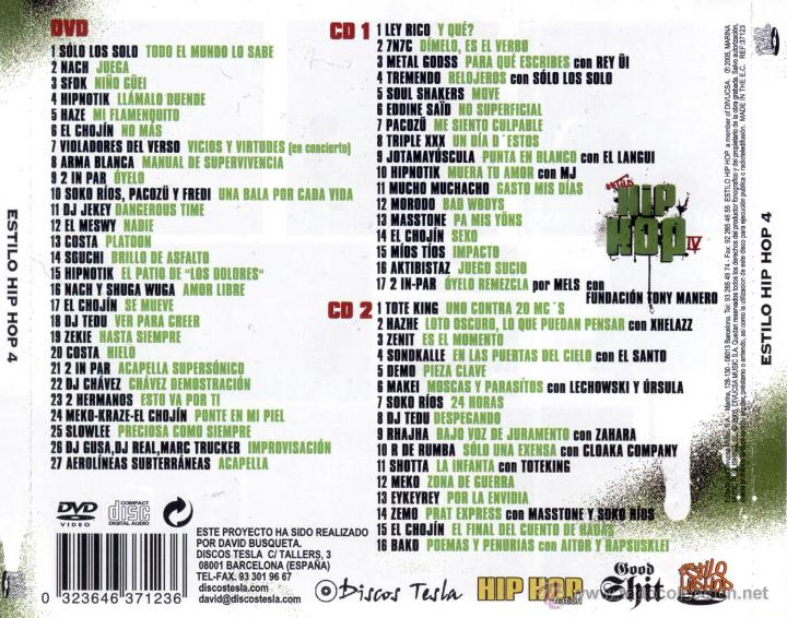 CDs de Música: ESTILO HIP HOP 4 - 2 CD + DVD. HIP HOP ESPAÑOL. NACH. SFDK. MUCHO MUCHACHO... - Foto 2 - 53996975