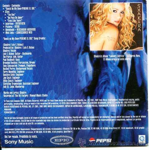 CDs de Música: SHAKIRA / KNOCK ON MY DOOR + PIDEME EL SOL (EN ESPAÑOL) + 3 VIDEO CLIPS (PROMOCIONAL PEPSI COLA 2002 - Foto 2 - 54178460