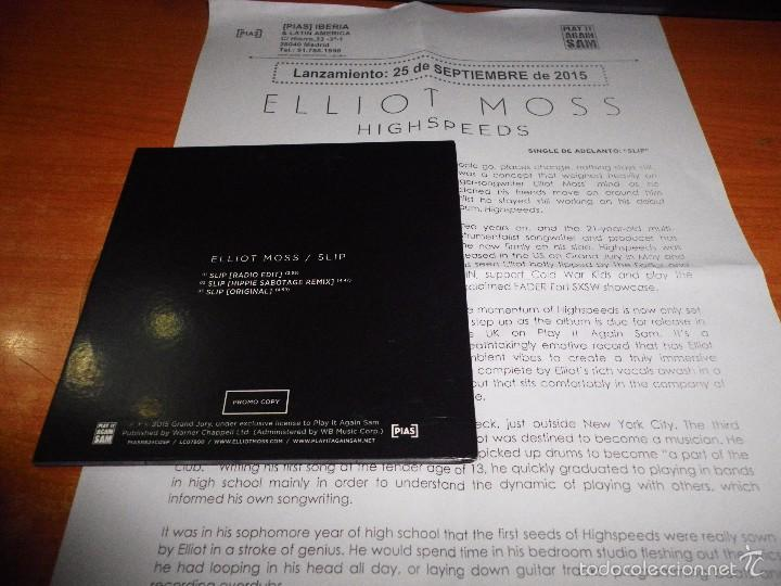 ELLIOT MOSS Slip REMIX CD SINGLE CON HOJA PROMOCIONAL 2015 ESPAÑA CD-R  ORIGINAL 3 TEMAS
