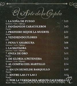CDs de Música: MANOLO CARACOL - EL ARTE DE LA COPLA - CD 12 TEMAS - Foto 2 - 192973770