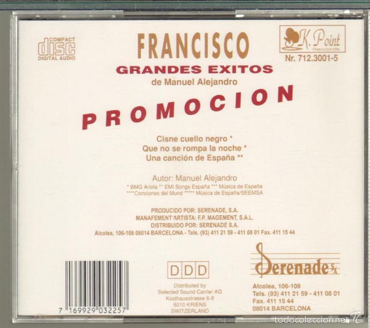 CDs de Música: MUSICA GOYO - CD SINGLE - FRANCISCO - GRANDES EXITOS - 3 CANCIONES *XX99 - Foto 2 - 20293346