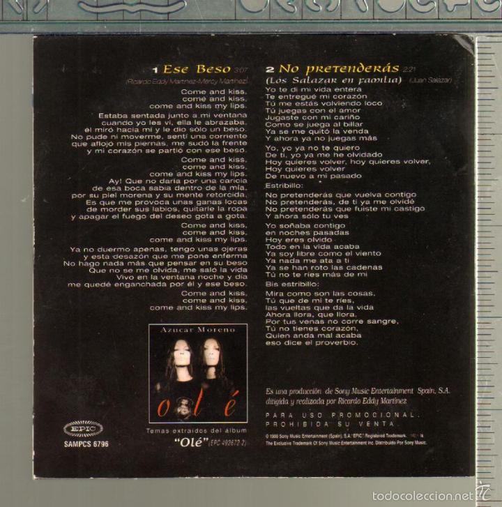 CDs de Música: MUSICA GOYO - CD SINGLE - AZUCAR MORENO - ESE BESO - *AA98 - Foto 2 - 21700702