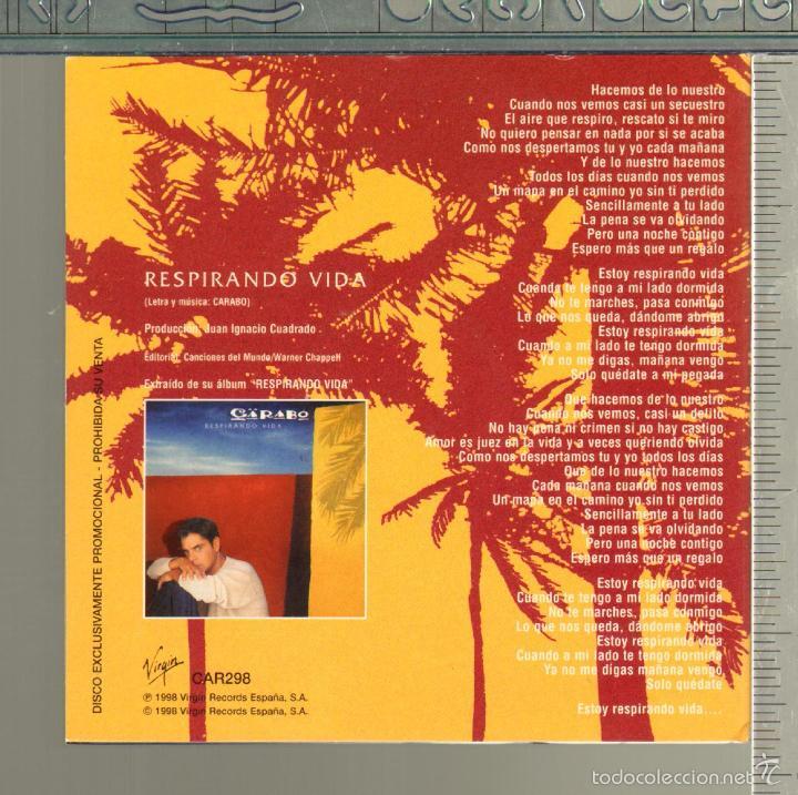 CDs de Música: MUSICA GOYO - CD SINGLE - CARABO - RESPIRANDO VIDA - *GG99 - Foto 2 - 21740866