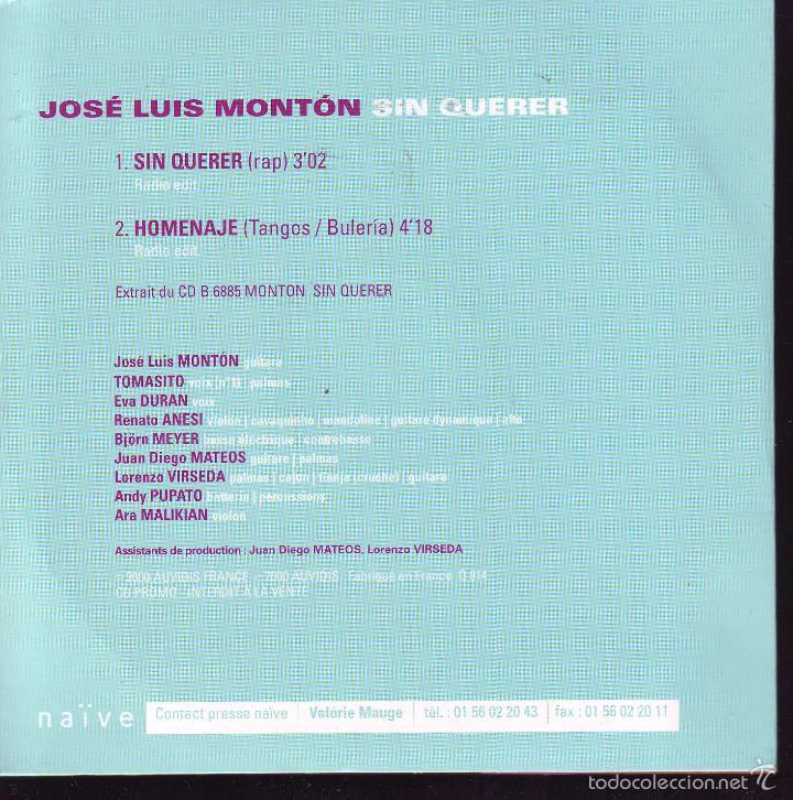 SIN QUERER -- JOSE LUIS MONTON -- CDS PROMOCIONAL (Música - CD's Otros Estilos)