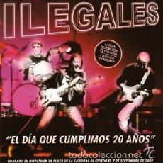 CDs de Música: CD ILEGALES - EL DIA QUE CUMPLIMOS 20 AÑOS - CONCIERTO DESPEDIDA PLAZA CATEDRAL DE OVIEDO. 23 TEMAS.. Lote 155806629