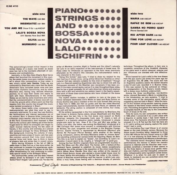 CDs de Música: LALO SCHIFRIN - PIANO, STRINGS AND BOSSA NOVA (CD BOSSA NOVA) - Foto 2 - 57669522