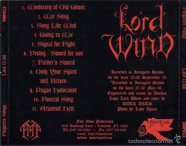 Lord wind - forgotten songs-cd black metal burz - Sold through