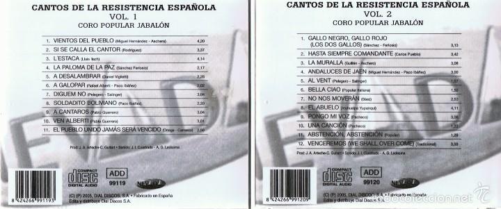 CDs de Música: CD CANTOS DE LA RESISTENCIA ESPAÑOLA (2 CDS) - Foto 3 - 58871256