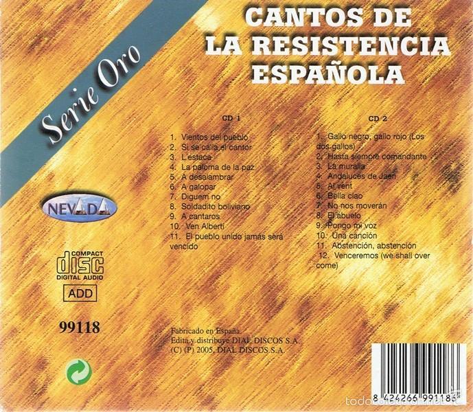 CDs de Música: CD CANTOS DE LA RESISTENCIA ESPAÑOLA (2 CDS) - Foto 4 - 58871256