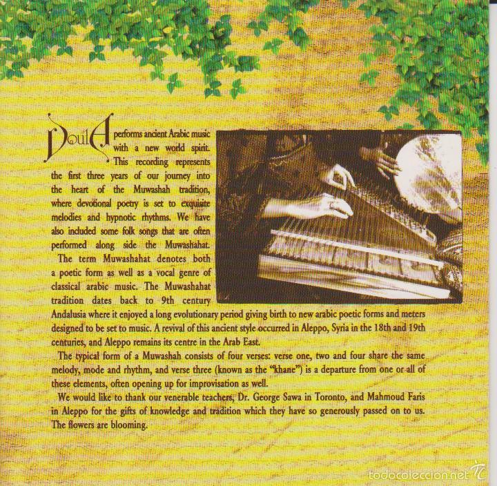 CDs de Música: DOULA - IN THE GARDEN - MÚSICA ÁRABE - ROLOVERMARYEM 1997 - EDICIÓN CANADÁ - Foto 3 - 60101323
