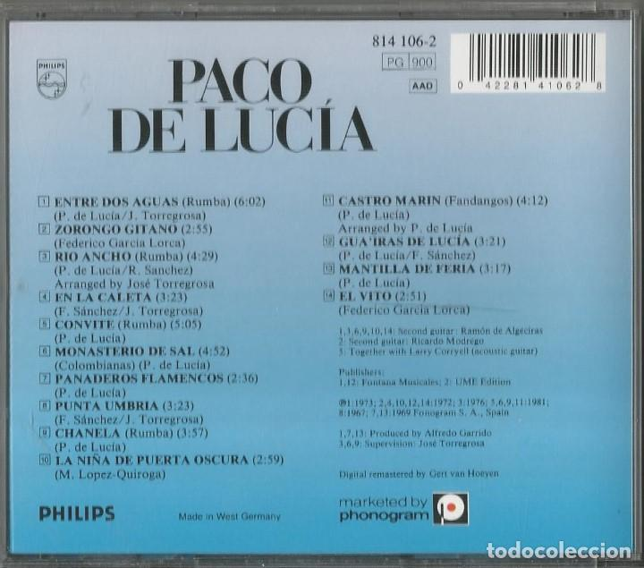 CDs de Música: PACO DE LUCIA. ENTRE DOS AGUAS. CD PHILIPS. - Foto 2 - 63547332