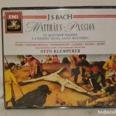 CDs de Música: JUAN SEBASTIAN BACH - PASION SEGUN SAN MATEO - DIRIGIDA POR OTTO KLEMPERER - ESTUCHE CON 3 CDS.. Lote 65670906
