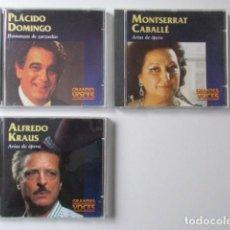 CDs de Música: GRANDES VOCES, LOTE DE TRES CD, MONTSERRAT CABALLÉ, ALFREDO KRAUS Y PLÁCIDO DOMINGO. Lote 71612543