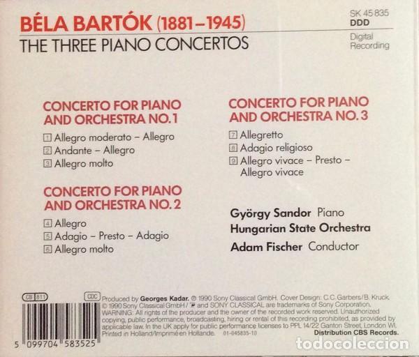 CDs de Música: Béla Bartok - The 3 Piano Concertos - Gyorgy Sandor - Adam Fischer - Foto 2 - 73481603