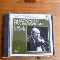 CDs de Música: PAU CASALS, PAUL BAUMGARTNER. BACH 3 SONATAS. CBS 1990 PRECINTADO. Lote 74081379