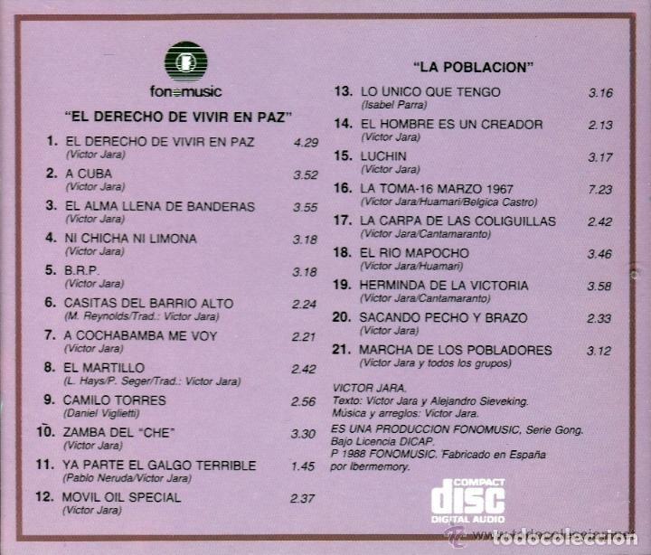 CDs de Música: VICTOR JARA - EL DERECHO DE VIVIR EN PAZ + LA POBLACIÓN - 2 LP EN 1 CD - Foto 2 - 74500347