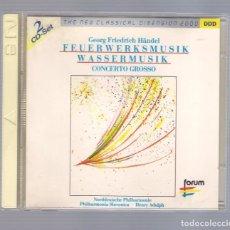CDs de Música: HÄNDEL - FEUERWERKSMUSIK / WASSERMUSIK (2CD THE NEW CLASSICAL DIMENSION 2000, FORUM CD2 462 076-2). Lote 75018367