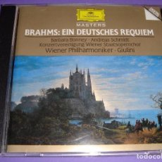 CDs de Música: JOHANNES BRAHMS - EIN DEUTSCHES REQUIEM (UN REQUIEM ALEMÁN) - GIULINI / DEUTSCHE GRAMMOPHON CD . Lote 80507449