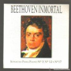 CDs de Música: CD - BEETHOVEN INMORTAL - SONATAS PARA PIANO Nº 3 Nº 12 Y Nº 17 . Lote 81558608