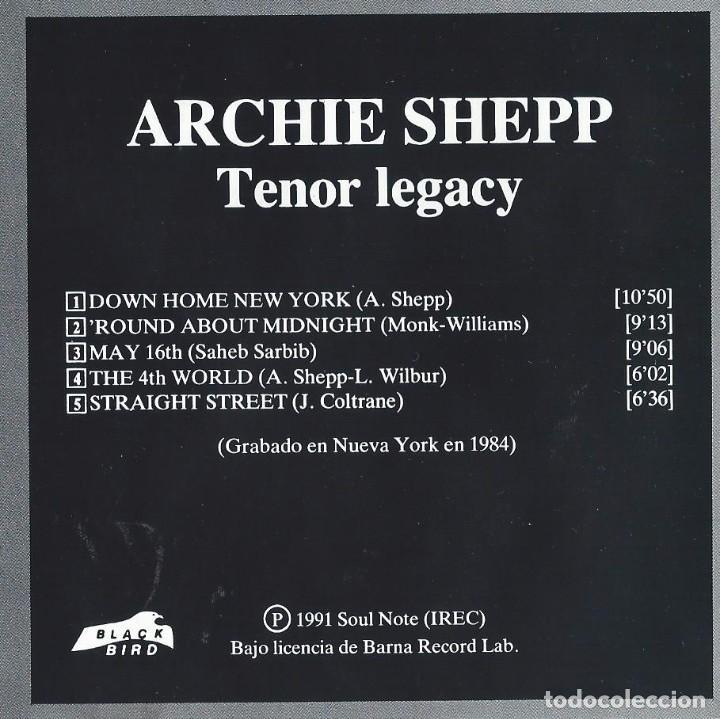 CDs de Música: ARCHIE SHEPP. TENOR LEGACY. CD - Foto 2 - 84409548