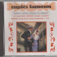 CDs de Música: CUPLÉS FAMOSOS CD FEDERICO MORENO TORROBA Y SU ORQUESTA 1991 VIOLETERA ROSA DE MADRID. Lote 85151128