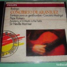 CDs de Música: JOAQUIN RODRIGO / CONCIERTO DE ARANJUEZ, ETC. / PEPE ROMERO / SIR NEVILLE MARRINER / PHILIPS / CD. Lote 85757556