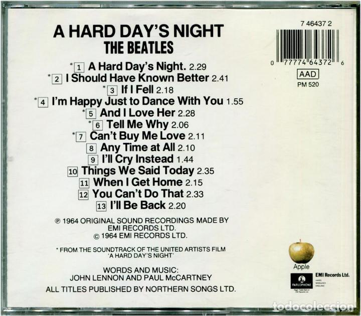 CDs de Música: The Beatles ‎– A Hard Day's Night - CD Europe 1993 - Parlophone ‎/ Apple 7 46437 2 - Foto 2 - 87072708