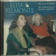 CDs de Música: ELISA BELMONTE PASEO POR LA POESÍA DE GARCILASO A RAFAEL ALBERTI PIANISTA XAVIER PARES. Lote 87567915