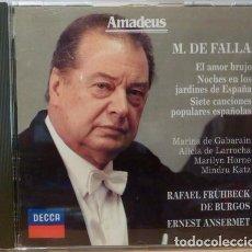 CDs de Música: MANUEL DE FALLA - RAFAEL FR?HBECK DE BURGOS & ERNEST ANSERMET. Lote 88109871