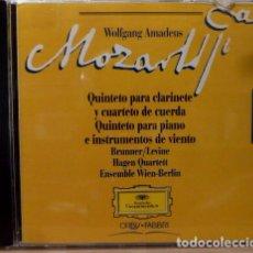 CDs de Música: MOZART - QUINTETO PARA CLARINETE, QUINTETO PARA PIANO. Lote 88337982