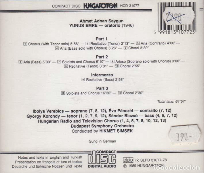 CDs de Música: Ahmed Adnan Saygun. Oratorio de Yunus Emre. Turquia 1989 - Foto 2 - 89232760