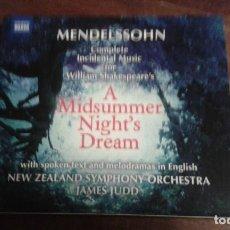 CDs de Música: MENDELSSOHN. A MIDSUMMER NIGHT'S DREAM. Lote 89520204