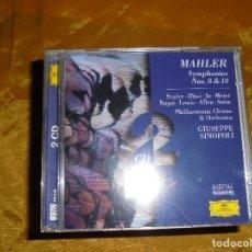 CDs de Música: MAHLER. SYMPHONIES Nº 8 Y 10. 2 CD´S. DEUTSCHE GRAMMOPHON. EDICION ALEMANA 1987. IMPECABLE. Lote 93792290