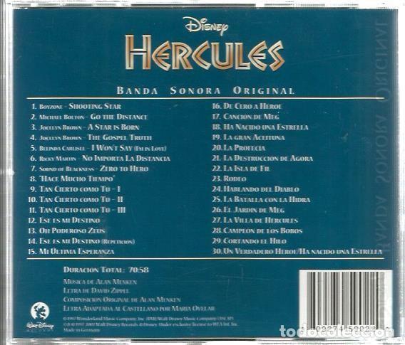 CDs de Música: CD BANDA SONORA DISNEY HERCULES ( CANCIONES EN ESPAÑOL E INGLES ) - Foto 2 - 94330706